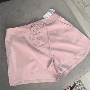 Taupe colored shorts with string